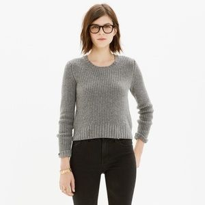 Madewell Grey Crop Merino Wool Sweater